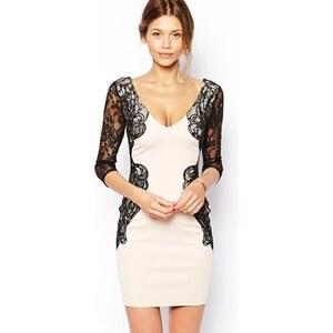 Michelle Keegan Loves Lipsy - Figurbetontes Kleid mit Ärmeln und Verzierung an der Taille aus Spitze - Hautfarben/Schwarz