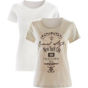 bpc bonprix collection Shirt (2er-Pack) kurzer Arm in weiß für Damen von bonprix
