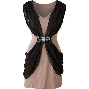 BODYFLIRT Drapiertes Kleid/Sommerkleid ohne Ärmel in braun von bonprix
