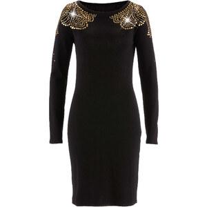 Premium Strickkleid mit Nieten in schwarz von bonprix