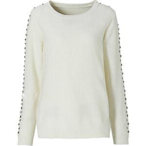 BODYFLIRT Pullover langarm figurbetont in weiß (Rundhals) für Damen von bonprix
