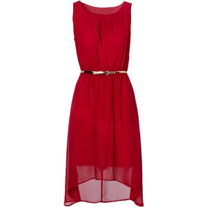 BODYFLIRT Kleid mit Gürtel ohne Ärmel in rot von bonprix