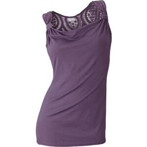 BODYFLIRT Top ohne Ärmel figurbetont in lila (Wasserfall-Ausschnitt) für Damen von bonprix