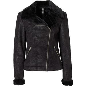 RAINBOW Velourlederimitat-Jacke in schwarz für Damen von bonprix
