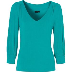 BODYFLIRT Shirt 3/4 Arm figurbetont in grün (V-Ausschnitt) für Damen von bonprix