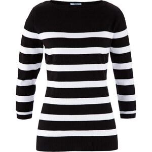 bpc bonprix collection Pullover mit U-Boot Ausschnitt 3/4-Arm in schwarz für Damen von bonprix