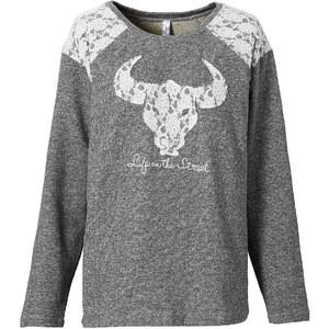 RAINBOW Sweatshirt mit Spitze in grau für Damen von bonprix