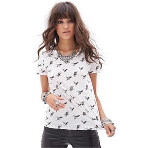 FOREVER21 T-Shirt mit Vogelprint