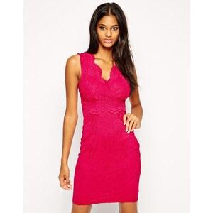 Lipsy - Figurbetontes Kleid aus Spitze - Beerenfarben