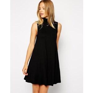 ASOS - Ärmelloses, weites Kleid mit Polokragen - Schwarz