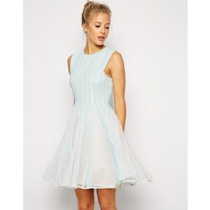 ASOS - Ausgestelltes Kleid mit Netzstoffeinsätzen - Blau