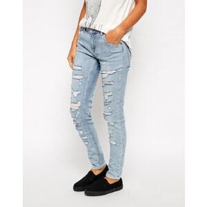 Pull&Bear - Boyfriend-Jeans mit Zierrissen - Blau