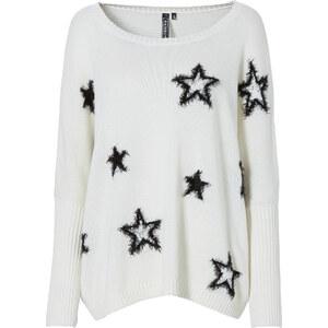 RAINBOW Strickpullover mit Sternen in weiß für Damen von bonprix