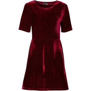 RAINBOW Samt Kleid/Sommerkleid 3/4 Arm in rot von bonprix