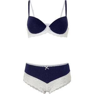 BODYFLIRT Schalen-BH + Panty (2-tlg. Set), Cup E mit Bügel in blau von bonprix