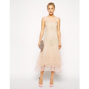 ASOS - Knielanges Kleid in Vintage-Batikoptik - Rosa