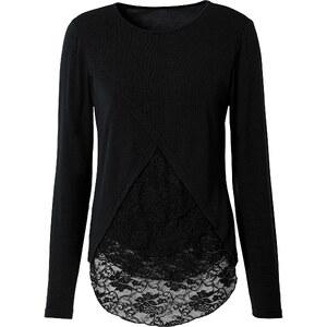 RAINBOW Pullover mit Spitzeneinsatz in schwarz für Damen von bonprix