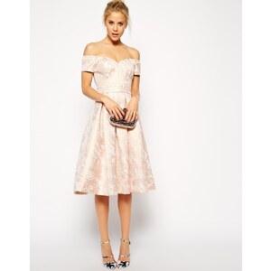 ASOS - Knielanges, trägerloses Debütantinnenkleid - Rosa