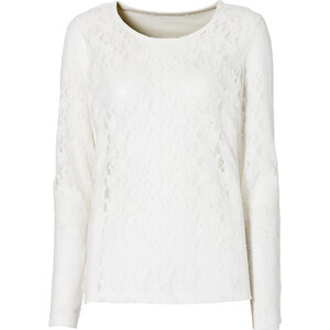 BODYFLIRT Spitzenshirt langarm in weiß für Damen von bonprix