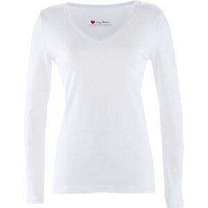 bpc bonprix collection V-Ausschnitt-Shirt Langarm in weiß für Damen von bonprix