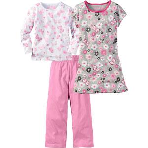 bpc bonprix collection Schlafanzug + Nachthemd (3-tlg.) in rosa für Mädchen von bonprix
