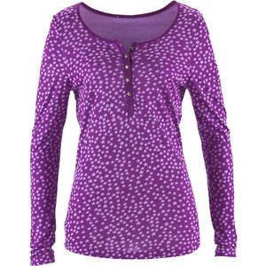 John Baner JEANSWEAR Shirt mit Knopfleiste, Langarm in lila für Damen von bonprix