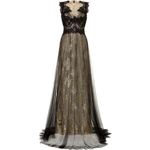 Marchesa Metallic Lace Gown