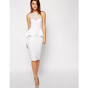 ASOS - Schößchen-Kleid mit Netzstoffverzierung - Weiß