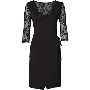 BODYFLIRT Shirtkleid 3/4 Arm in schwarz (V-Ausschnitt) von bonprix