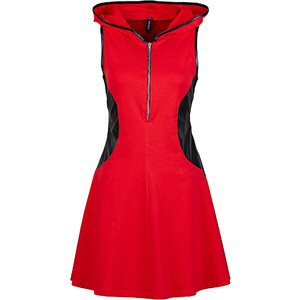 RAINBOW Kleid mit Kapuze ohne Ärmel in rot von bonprix