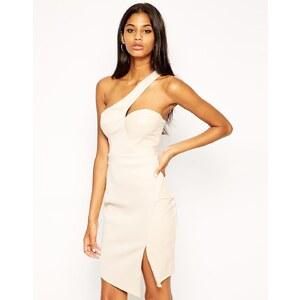 Michelle Keegan Loves Lipsy - Figurbetontes One-Shoulder-Kleid mit asymmetrischem Saum - Cremeweiß