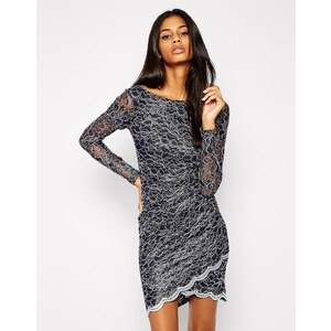 Lipsy - Eng anliegendes Kleid mit Wicklung vorne, Spitze, langärmlig