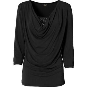 RAINBOW Shirt mit Wasserfall-Ausschnitt 3/4 Arm in schwarz für Damen von bonprix