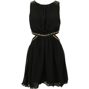 Černé šaty Little Mistress se zlatými detaily