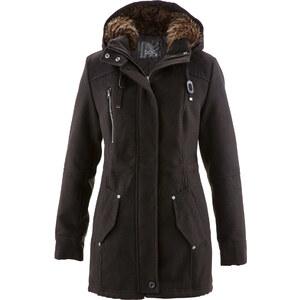 bpc bonprix collection Parka mit Fellimitat-Kapuze in schwarz für Damen von bonprix