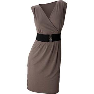BODYFLIRT Shirtkleid/Sommerkleid kurzer Arm figurbetont in grau (V-Ausschnitt) von bonprix