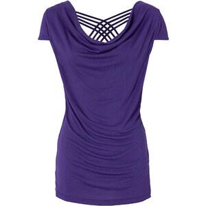 RAINBOW Shirt mit Wasserfall-Ausschnitt kurzer Arm in lila für Damen von bonprix
