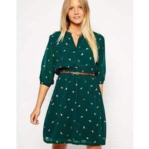 Yumi - Kleid mit Gürtel und goldenem Vogelmotiv - Grün