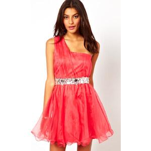 Lipsy – VIP – One-Shoulder-Kleid aus Organza mit strassverzierter Taille