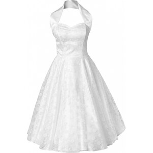 Vivien of Holloway 50s Retro halter luxury White Satin Lace swing dress wedding dress