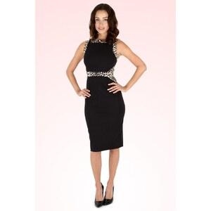 The Pretty Dress Company 50s Leopard Panel Dress in Black