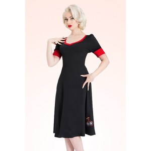 Vixen 50s Cherry Swing Dress Black