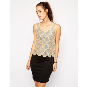 Club L - Kleid mit Paillettenlage mit Bogenkante - Gold