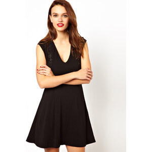 French Connection V-Neck Skater Dress With Bead Detailing