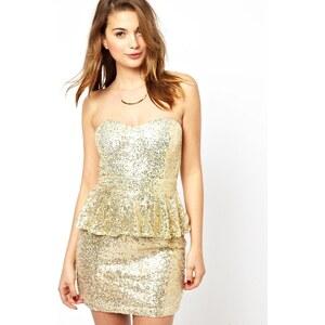 Glamorous - Paillettenbesetztes Kleid mit Schößchen - Gold