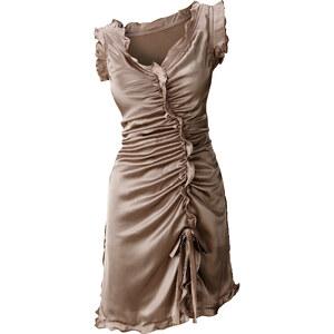 BODYFLIRT Satin-Kleid ohne Ärmel in beige von bonprix