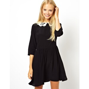 ASOS Skater Dress With Crochet Collar