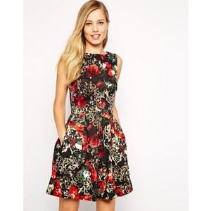 Closet - Rückenfreies Skaterkleid mit Blumen- und Kettenmuster - Mehrfarbig