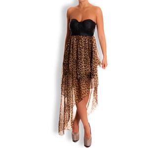 Davity Paris -45% Dámské dlouhé šaty tygrované na prsa