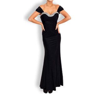 Etina Paris Společenské šaty dlouhé černé s kamínky